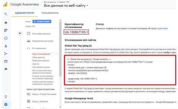 Идентификатор и код счетчика Google Analytics