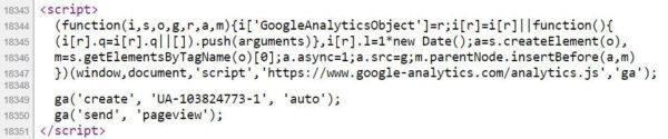 Пример кода счетчика Google Analytics в коде сайта