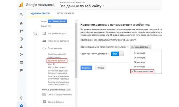 Хранение данных счетчика Google Analytics